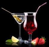 Комплект коктеиля спирта с плодоовощами лета Стоковое фото RF