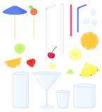 комплект коктеиля с украшениями и плодоовощами Стоковое Изображение RF
