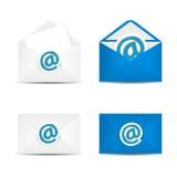 Комплект конверта вектора с значком электронной почты, изолированный в белой предпосылке бесплатная иллюстрация
