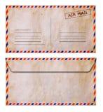 Комплект конверта воздушной почты grunge передней и задней стороны старого Стоковые Фото