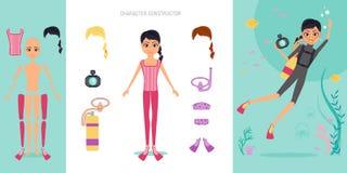Комплект конструктора характера Aqualunger Иллюстрация вектора шаржа плоская infographic Водолаз девушки в купальнике и маске Стоковые Фото