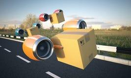 Комплект контейнеров транспорта воздуха перевозя на грузовиках Стоковое Изображение