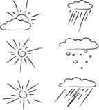 Комплект контура значков погоды Стоковое Изображение RF