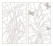 Комплект контура иллюстраций в стиле, snowdrops и тюльпанах цветного стекла с бабочками, темным планом на белом backgroun Стоковые Фото
