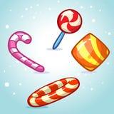 Комплект конфеты вектора рождества Красочная обернутая помадка, леденец на палочке, тросточка иллюстрация вектора