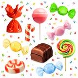 Комплект конфеты, значки вектора иллюстрация вектора