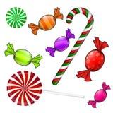 Комплект конфеты рождества Красочная обернутая помадка, леденец на палочке, тросточка Иллюстрация вектора на белой предпосылке иллюстрация штока