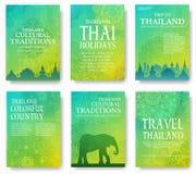 Комплект концепции иллюстрации орнамента страны Таиланда Искусство традиционное, плакат, книга, плакат, конспект, мотивы тахты Стоковое фото RF