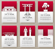 Комплект концепции иллюстрации орнамента страны Японии Искусство традиционное, плакат, книга, плакат, конспект, мотивы тахты Стоковое Фото