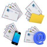 Комплект концепции послания электронной почты и интернета 3d Стоковые Изображения RF