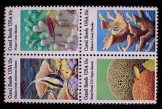 Комплект коралловых рифов США штемпелей почтового сбора Стоковые Изображения RF