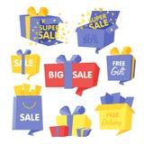 Комплект коробки цены и продажи иллюстраций вектора Стоковые Фотографии RF