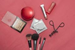 Комплект косметик, контрацептивов, презерватива Стоковое Изображение
