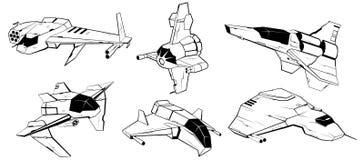 Комплект космических кораблей сражения также вектор иллюстрации притяжки corel иллюстрация вектора