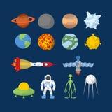 Комплект космоса значков вектор карандаша иллюстратора персонажей из мультфильма смешными установленный перями Герои шаржа: чужез иллюстрация вектора