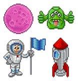 Комплект космоса шаржа искусства пиксела Стоковая Фотография