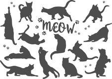 Комплект котов силуэтов черных на белой предпосылке также вектор иллюстрации притяжки corel иллюстрация вектора