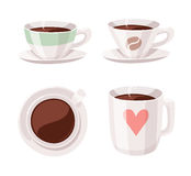 Комплект кофейной чашки стиля шаржа Пить кофеина иллюстрации вектора нарисованные рукой Стоковое Изображение RF