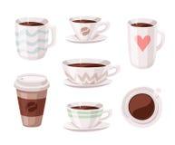 Комплект кофейной чашки стиля шаржа Пить кофеина иллюстрации вектора нарисованные рукой Стоковая Фотография