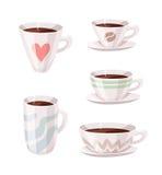 Комплект кофейной чашки стиля шаржа Пить кофеина иллюстрации вектора нарисованные рукой Стоковая Фотография RF