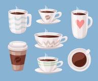 Комплект кофейной чашки стиля шаржа черной Пить кофеина иллюстрации вектора нарисованные рукой Стоковые Фото