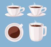 Комплект кофейной чашки стиля шаржа Шоколад жидкости иллюстрации вектора Нарисованные рукой пить кофеина Стоковое Изображение