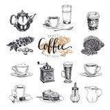 Комплект кофе вектора нарисованный рукой эскиз Стоковое фото RF