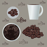 Комплект кофе, график, иллюстрация, эспрессо Стоковые Изображения