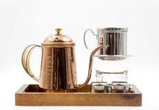 комплект кофе и чая на белизне Стоковые Изображения