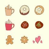 Комплект кофе, печений и тортов Стоковое Изображение RF