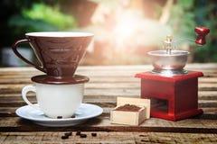 Комплект кофе потека с предпосылкой природы Стоковые Изображения
