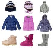 Комплект коллажа одежд зимы девушки ребенка изолированный на белизне Стоковые Изображения
