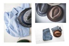 Комплект коллажа различных одежд и аксессуаров для людей Стоковое Изображение RF