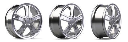 Комплект колес алюминиевого сплава resoluti иллюстрации 3D высококачественное Стоковые Фотографии RF