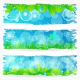 Комплект красивых зеленых знамен природы Стоковое Фото