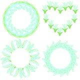 Комплект 4 красивых круглых рамок сделанных лилий долины иллюстрация вектора