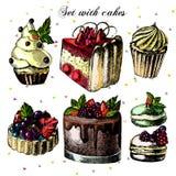 Комплект красивых тортов и пирожных Иллюстрация вектора