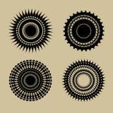 Комплект красивых черных круглых элементов геометрического дизайна Стоковое фото RF