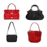 Комплект красного цвета и сумок чернокожих женщин Стоковые Изображения RF