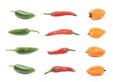 Комплект красного цвета, оранжевых и зеленых перца Стоковая Фотография RF