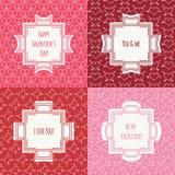 Комплект красного цвета, розовой романтичной безшовной картины с иллюстрация штока