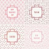 Комплект красного цвета, розовой романтичной безшовной картины с бесплатная иллюстрация