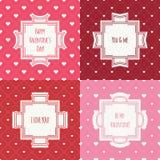 Комплект красного цвета, розовой романтичной безшовной картины с иллюстрация вектора