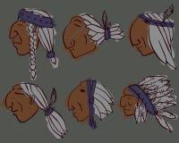 Комплект 6 красным голов покрашенных индейцем иллюстрация штока