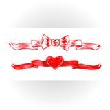 Комплект красных лент акварели Стоковое фото RF