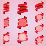 Комплект красных лент, ярлык вектора, стикер Стоковая Фотография