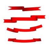 Комплект 4 красных лент Стоковые Изображения