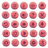 Комплект красных деревянных круглых кнопок иллюстрация вектора