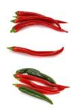 Комплект красных и зеленых перцев Стоковое Изображение RF