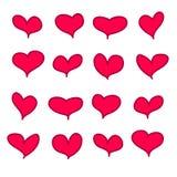 Комплект 16 красных розовых каллиграфических handdrawn сердец Стоковые Изображения